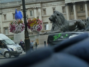 A Blue Rooster and a Lion in Trafalgar Square. The New and the Old.