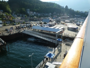 Dockside in Ketchikan with the town beyond